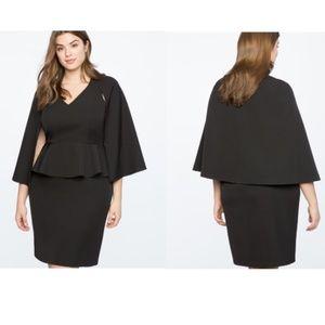 Eloquii NWT Black Plus Size V-Neck Cape Dress